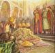 Юстиниан II дарява кан Тервел пред Константинопол